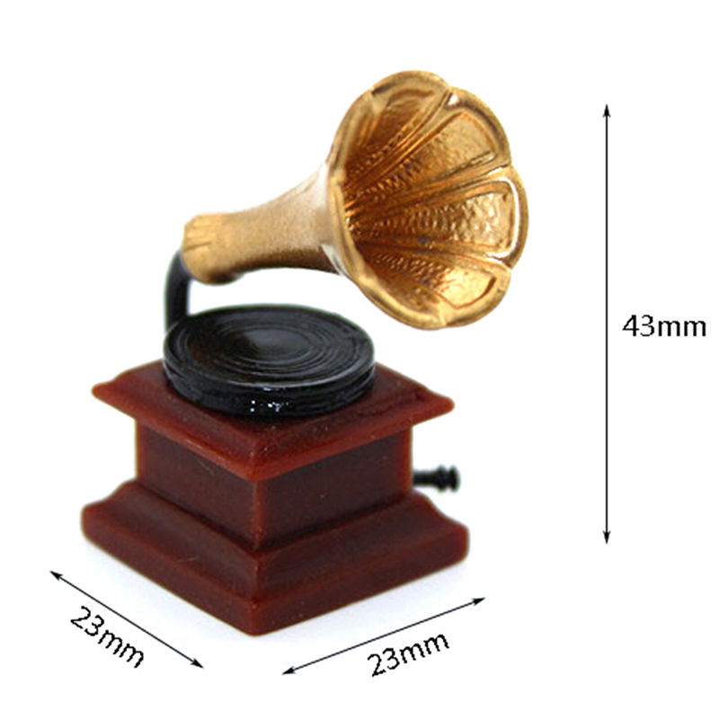 1/12 Dollhouse Miniature Accessories Mini Retro Phonograph Simulation Furniture Model Toys For Doll House Decoration