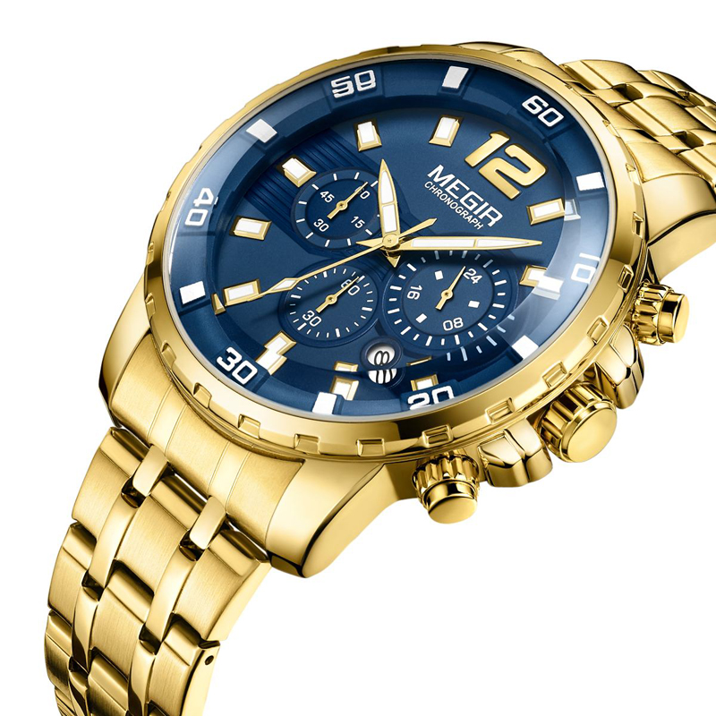 <font><b>Megir</b></font> Top Brand Men's Gold Stainless Steel Quartz Watches Business Chronograph Analgue Wristwatch for Man Waterproof Luminous image