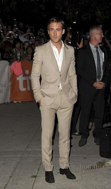 f2651bdfe8e2 Tailor Made Khaki Men Suits Slim Fit Prom Dress Tuxedo Male Blazer Formal  Groom Costume Marriage