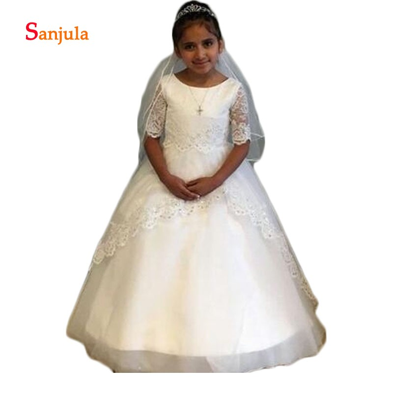 Lace Appliques Sequins Child   Dresses   Wedding Half Sleeve Ball Gown African   Flower     Girls     Dresses   robe mariage petite fille D107