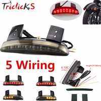 Triclicks 7Inch 8W DRL Lamp Smoke Red Chroma Chopped Fender Edge LED Tail Light Turn Signals