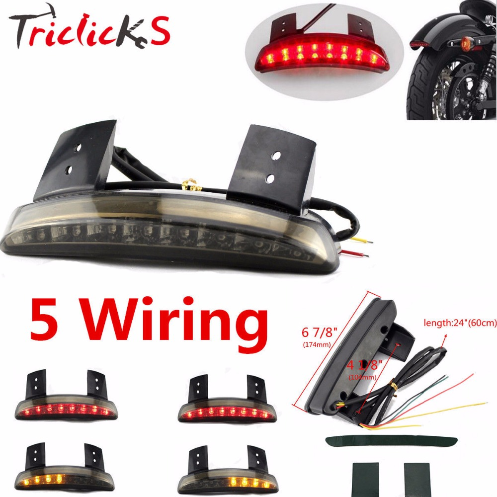 Triclicks 7Inch 8W DRL Lamp Smoke Red Chroma Chopped Fender Edge LED Tail Light Turn Signals Lights Fit Harley Sportster XL883