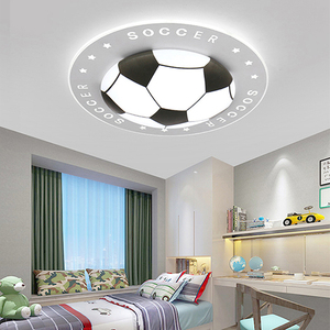 Image 1 - Creative Dimmable Color Football Ceiling Lights Round Lamp Black Blue Red  Hanging Lights Children Kids Room Nordic Ceiling Lamp