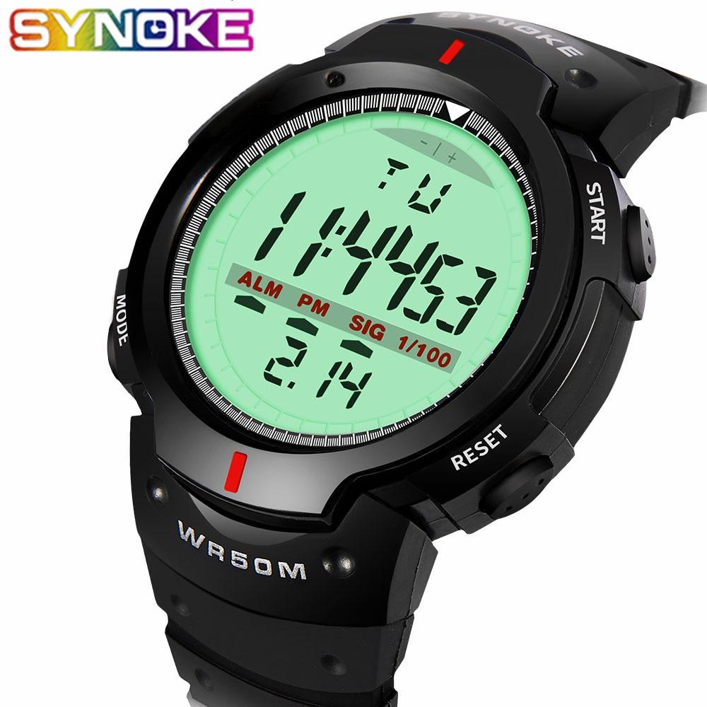 SYNOKE Watches Men Wrist Outdoor Electronic Waterproof 30M LED Sport Digital Relojes