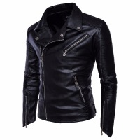 2018 Spring And Autumn New Motorcycle Zipper Leather Motorcycle PU Jacket Men S Jacket M 4XL
