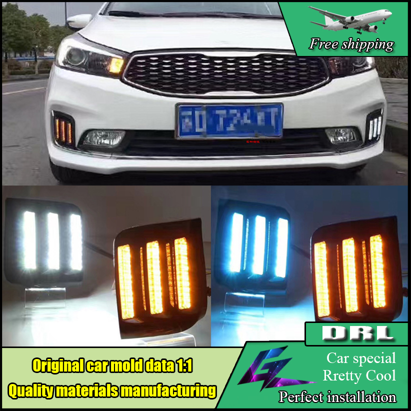 Car Styling 12V LED Day Light DRL For KIA Cerato K3 2016 2017 Daytime Running Lights drl with yellow turning signal lamp 4 led 12v vehicle signal lights 2 pack yellow