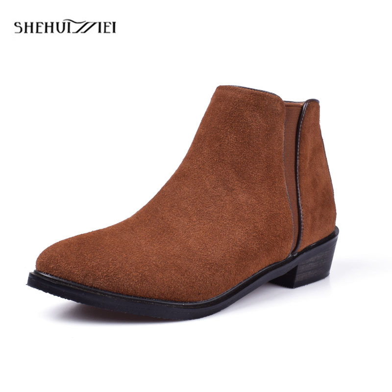 Shehuimei Autumn Winter Fashion Woman Boots High Heels Women Genuine Leather Ankle Boots Sexy Pointed Toe Martin Boots Size 10 ...