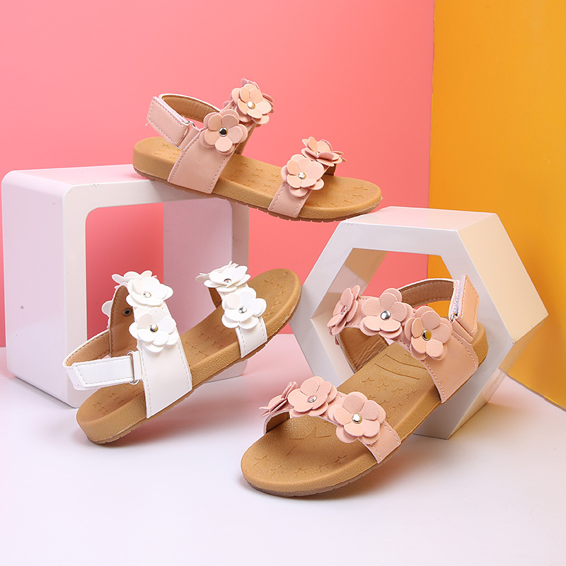 New Toddler Little Baby Girl Summer Children Flower Flat Sandals Dress Shoes For Kids Girls Beach Sandals 1 2 3 4 5 Years 2018