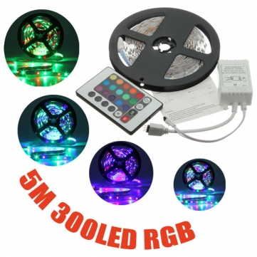 Non-waterproof RGB 3528 LED strip light 5m 300 leds ruban led tape diode with remote controler and IR receiver, White Warm white