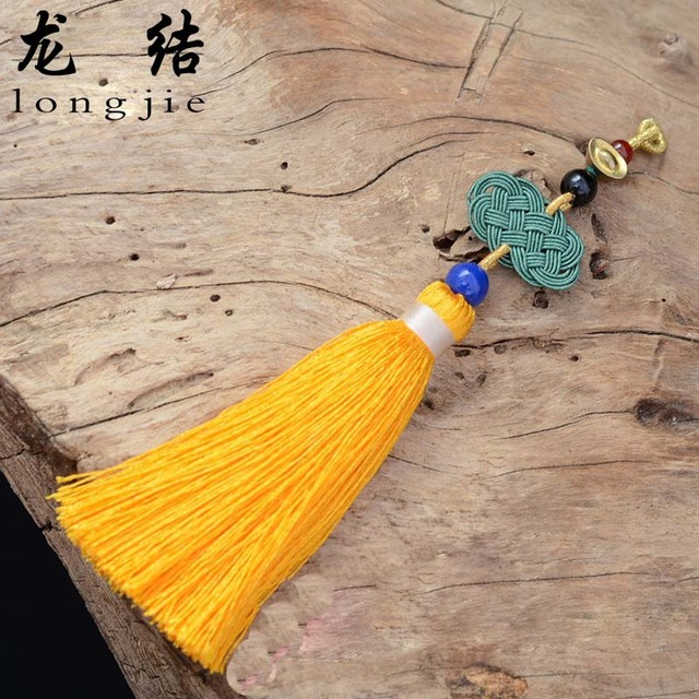 Longjie chinese knots Golden Buddha hanging ear back hand woven tassel spike cloud simple fashion fine factory direct L5134