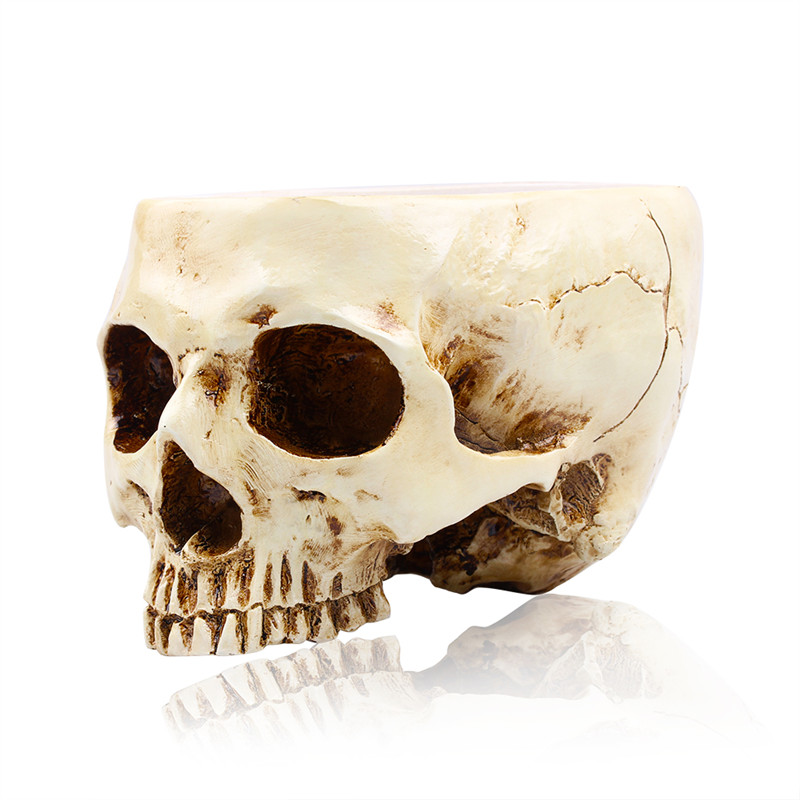 Animal Skull Resin Flower Pot Handmade Sculpture Model 1:1 Ashtray Ghost Festival Potted Fruit Bowl Storage Tank Family Decorati
