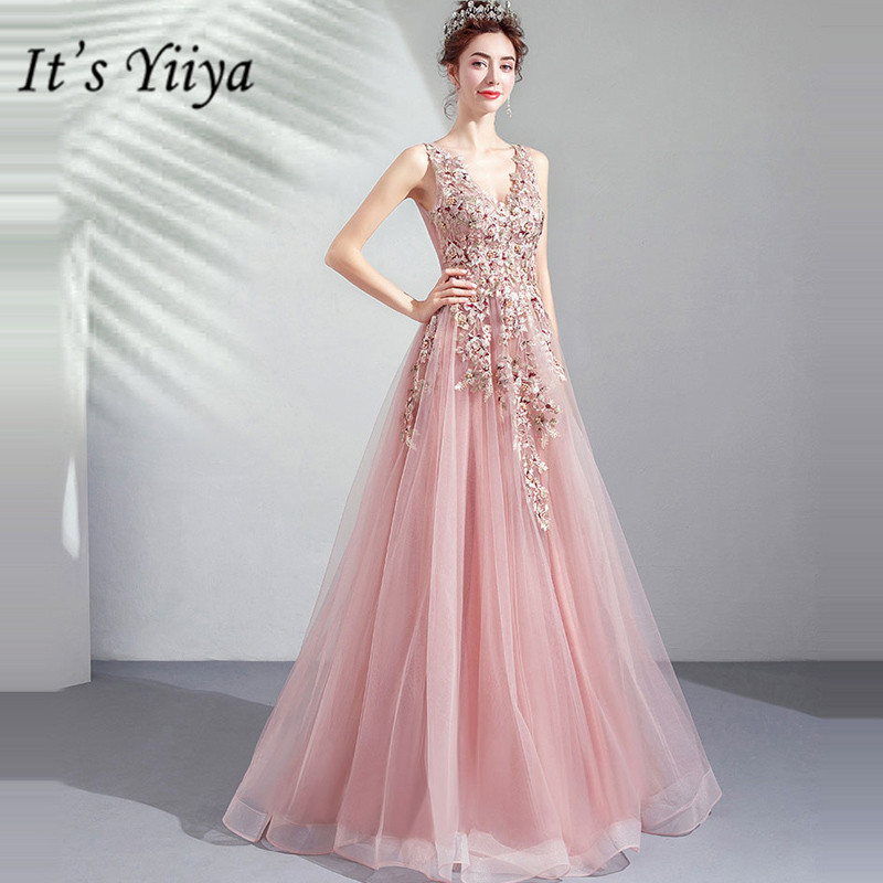 It's YiiYa   Prom   Gowns Pink V-neck Sleeveless A-Line Floor Length Beading Party   Dress   Custom Plus Size   Prom     Dresses   2019 E269