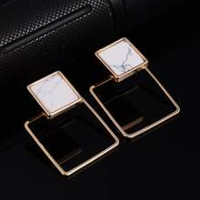 High Quality New Women Punk Stud Earrings Geometric Round/Square/Triangle Faux Marbled Stone From India pendientes(China)