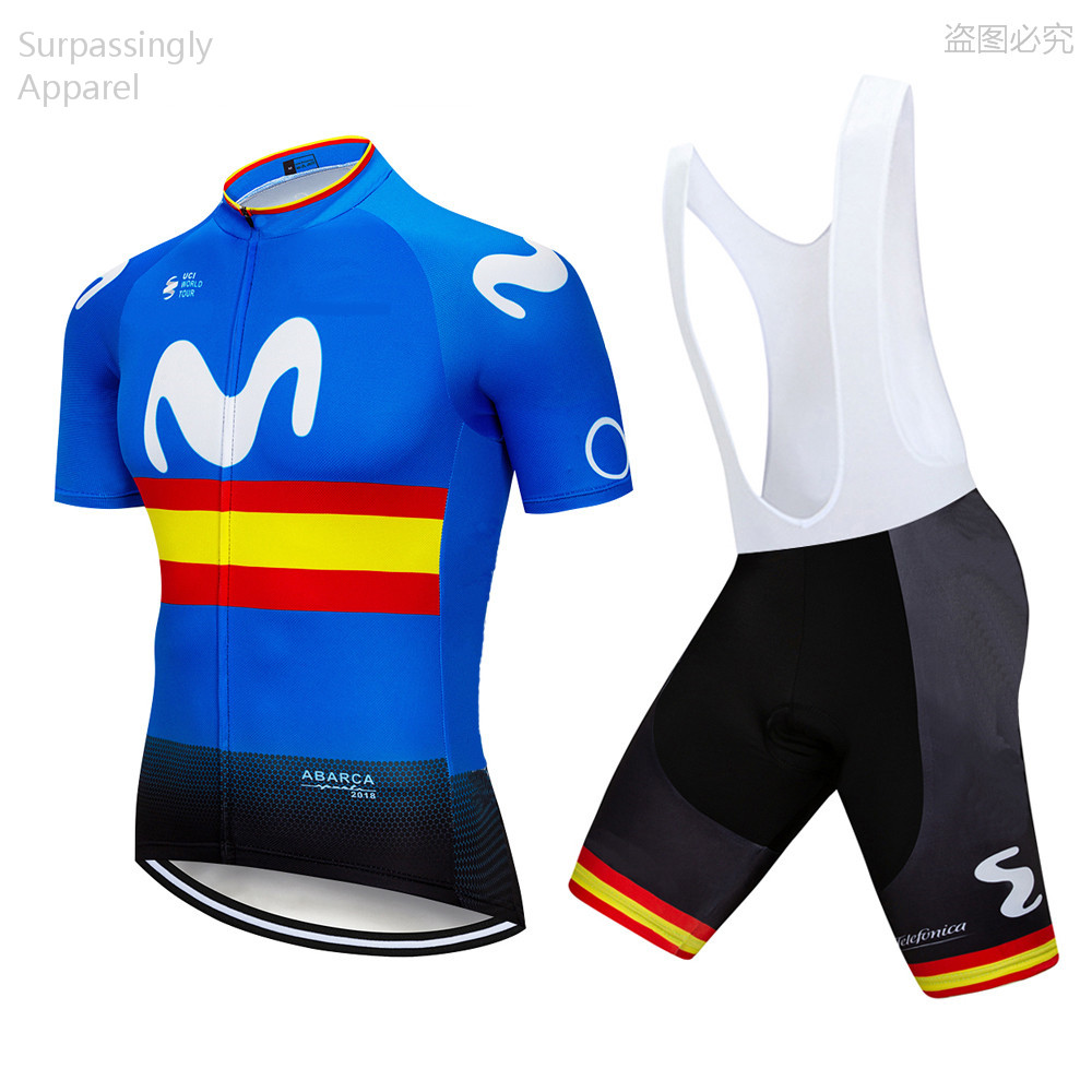 2019 Tour Team Blue Spain M Cycling Jersey Short Sets Bike Clothing Quick Dry Roupa Ciclismo Bicycle Clothes Outdoor Sportswear