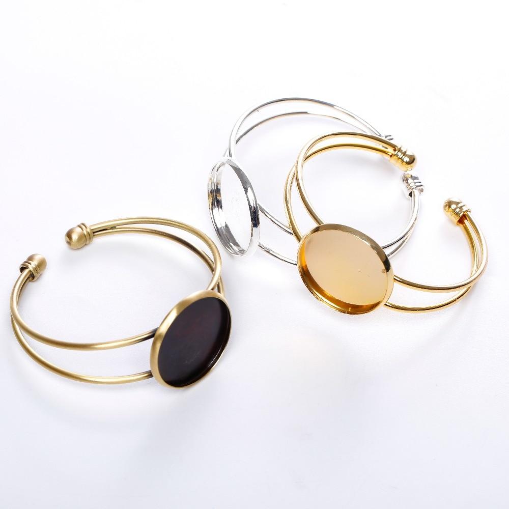 set of 2 bracelets in silver for medium 25 mm cabochon