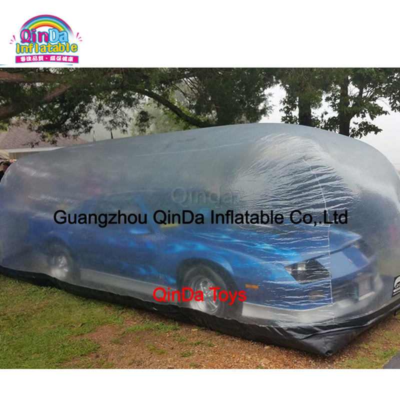 New Design PVC inflatable car capsule showcase,inflatable dust proof transparent car shelter hot selling airtight inflatable hail proof cover inflatable showcase inflatable tent for car