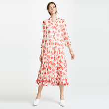 5451c5885c Floral wydrukowano biały 3 4 rękaw plisowana łydki długość sukienki kobiety  panie jesień luźne wzburzyć łączone długi midi prost.