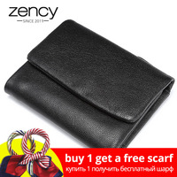 100% Real leather wallet sheepskin short standard money purses fashion unisex small Money bag coin pocket 3 fold quality Wallets