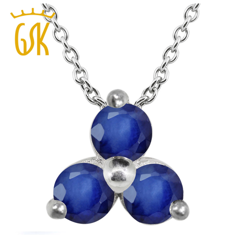 Gem Stone King 0.39 Ct Round Blue SI1/SI2 Sapphire 925 Sterling Silver Pendant  For Women Fine Jewelry