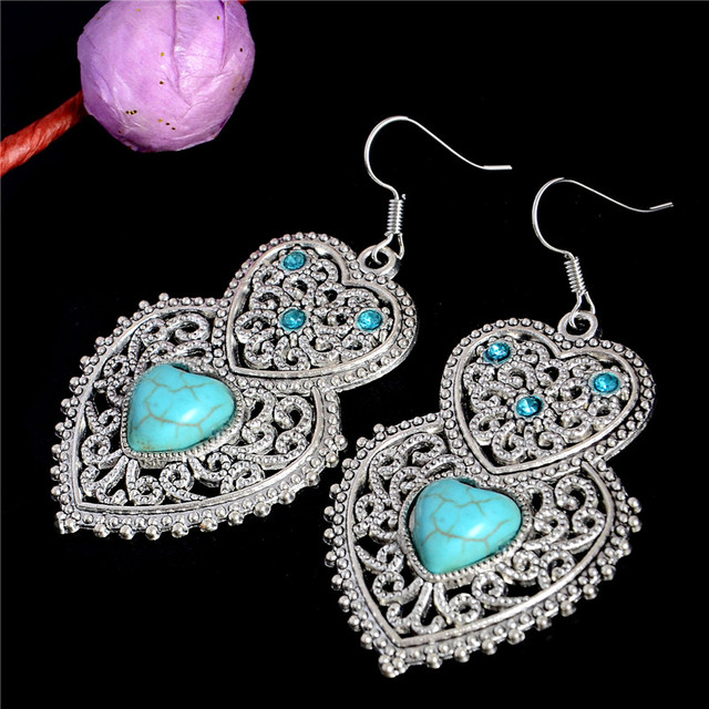 Bohemia Style Silver Plated Double Heart Hollow Turquoise Dangle earrings Women's Earrings Party Accessory