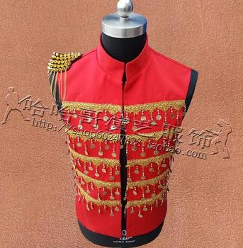 Red Style Personality Slim Male Sleeveless Vest Men Punk Rock Costumes Hombre Chalecos Singer Dance Stage Star Fashion Novelty