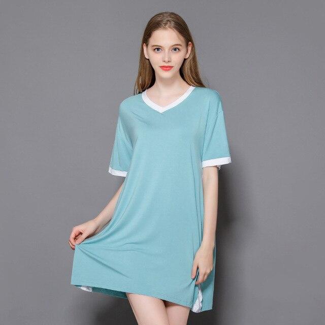הלבשת 2019 קיץ חדש נשים של מודאלית בית מזדמן שמלת V-צוואר רופף דק ארוך לילה שמלת נשים ללבוש לישון סקסי nightwear