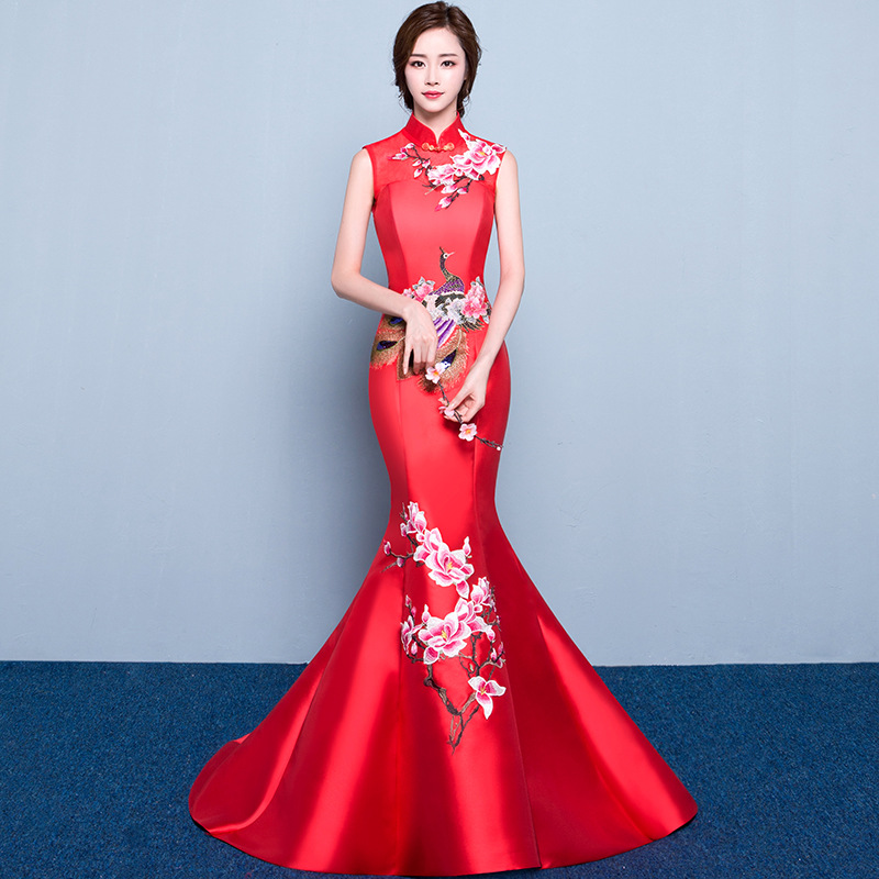34248e16a red mermaid wedding lace traditional dresses for women cheongsam chinese  style long qipao evening 2016 high quality satin-in Cheongsams from Novelty  ...