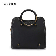 2017 Women Pu leather handbag fashion crossbody bags for women trunk tote solid color chains female simple women messenger bag