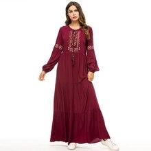 2019 Autumn Women Maxi Dress Long Sleeve Embroidery High Waist Long Dress Women Lace-up Robe Femme Vestidos A-Line Dress Outwear a line long sleeve long dress