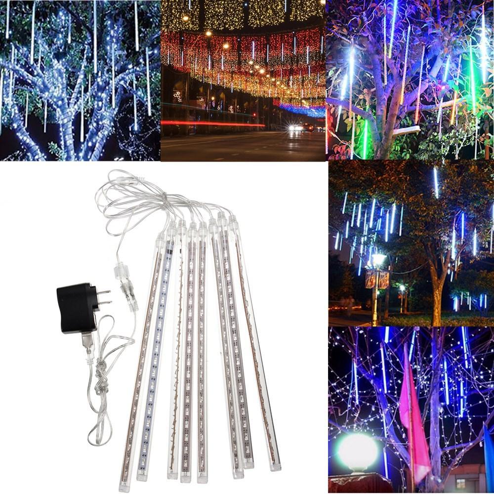 LED Meteor Shower Rain String Lights LED Waterproof Snowfall Meteor Light Outdoor Raindrop Holidays Lighting Garland 8 Tubes