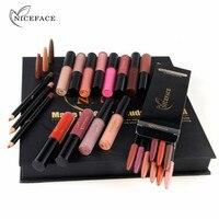 NICEFACE Lipstick Sets Long Lasting Matte Liquid Lip Stick + Velvet Lips Pencil Makeup Kit Waterproof Batom Sexy Nude Lip Gloss