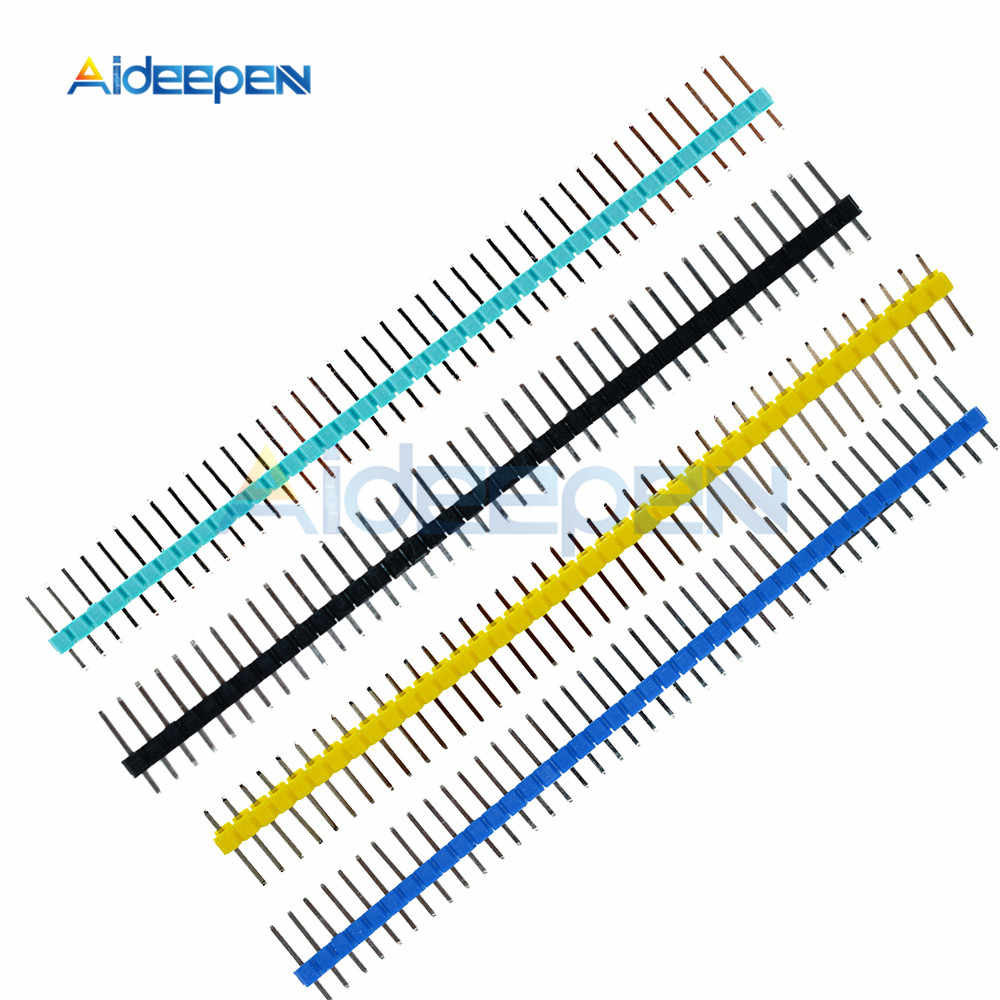 10PCS 40Pin 1x40P Male Breakable Single Row Pin Header Strip Connector 2.54mm Black White Blue Red Green Yellow