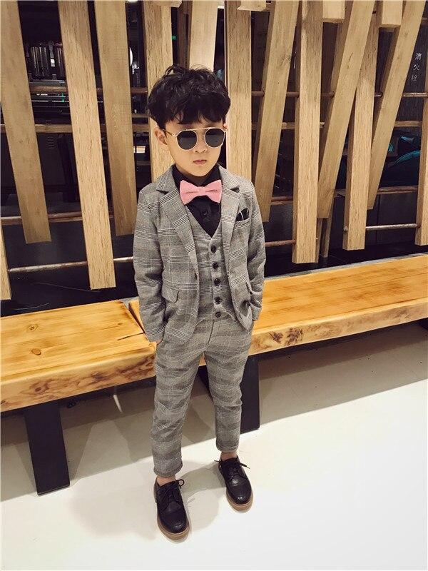 Baby Jungen Formelle Anzüge Für Hochzeiten Kinder Leistung Party 3 Stücke Smoking Kleidung Set Kind Gentleman Kostüm