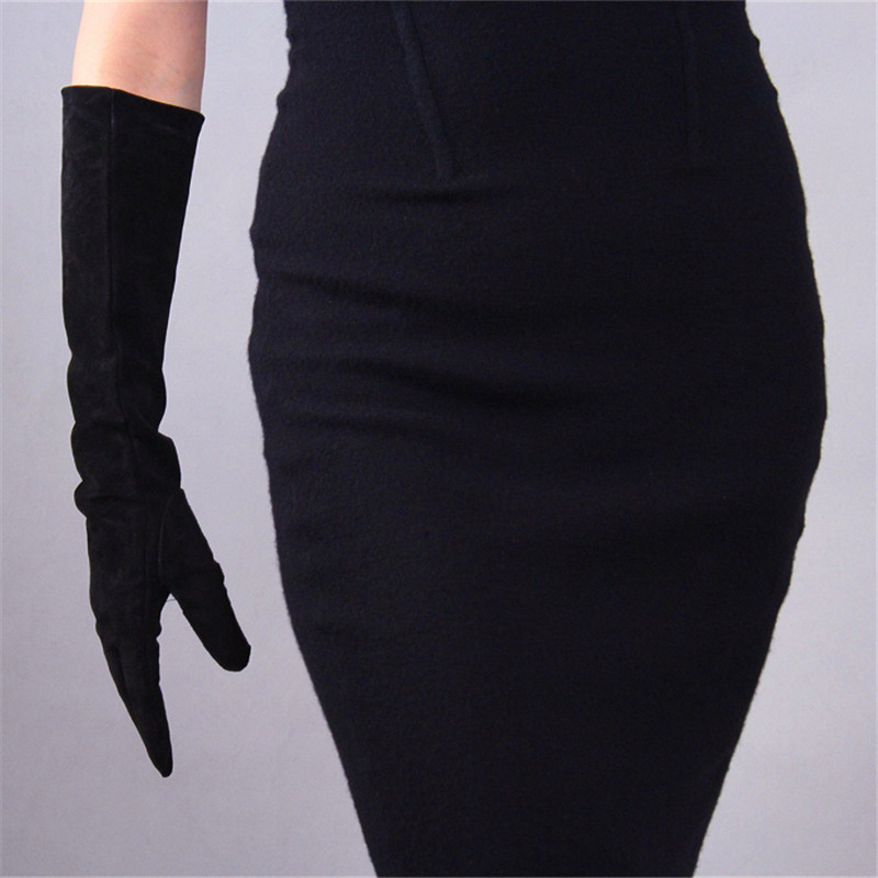 Suede Gloves Genuine Leather Long Style 44cm Sheepskin Frosted Thin Velvet Lined Women Gloves Evening Vestidos Mittens TB63 in Women 39 s Gloves from Apparel Accessories