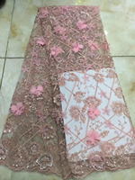 Luxury Pink Color Bridal French Lace Fabric Elegant 3D Flower Embroiderey Handwork Pearl Beaded Lace Applique Lace For Dress AFF