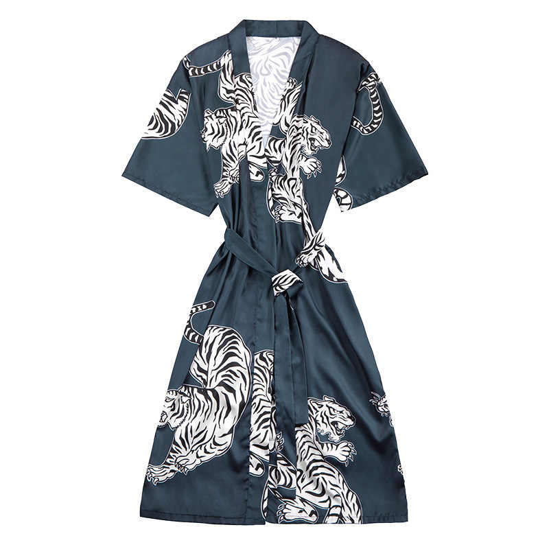 010eba1dd Chinese Men Satin Robe Casual Kimono Bath Gown Sleepwear Nightgown Rayon  Long Sleeve Print Tiger Home