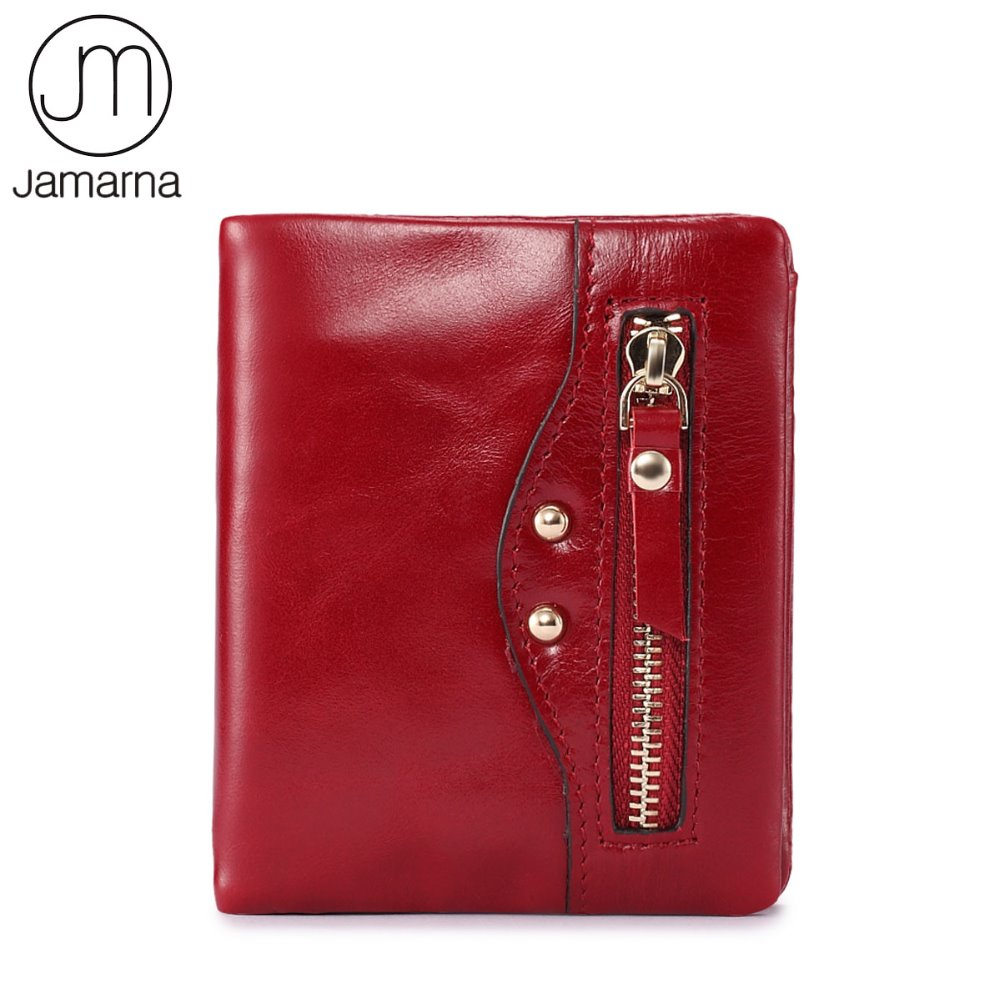 Jamarna Brand Genuine Leather Small Wallet Female Oil Waxing Bifold Red Mini Coin Purse Card ID Holder Short Wallet For Women williampolo mens mini wallet black purse card holder genuine leather slim wallet men small purse short bifold cowhide 2 fold bag