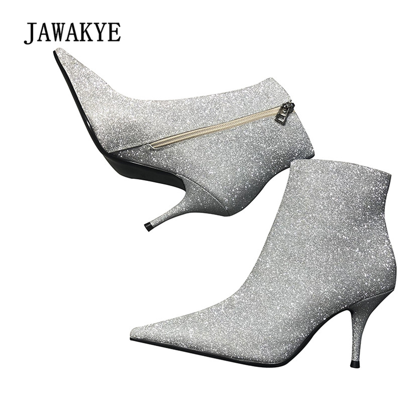 2018 Sequined Ankle Boots Women Pointed Toe Bling Bling Strange High Heel Boots Woman Chic Aapatos De Mujer am 972 фигурка георгий победоносец латунь янтарь