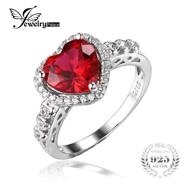 JewelryPalace Heart Of Ocean 2.7ct Red Created Ruby Love Forever Halo Promise Ring 925 Sterling Silver Fine Jewelry For Women