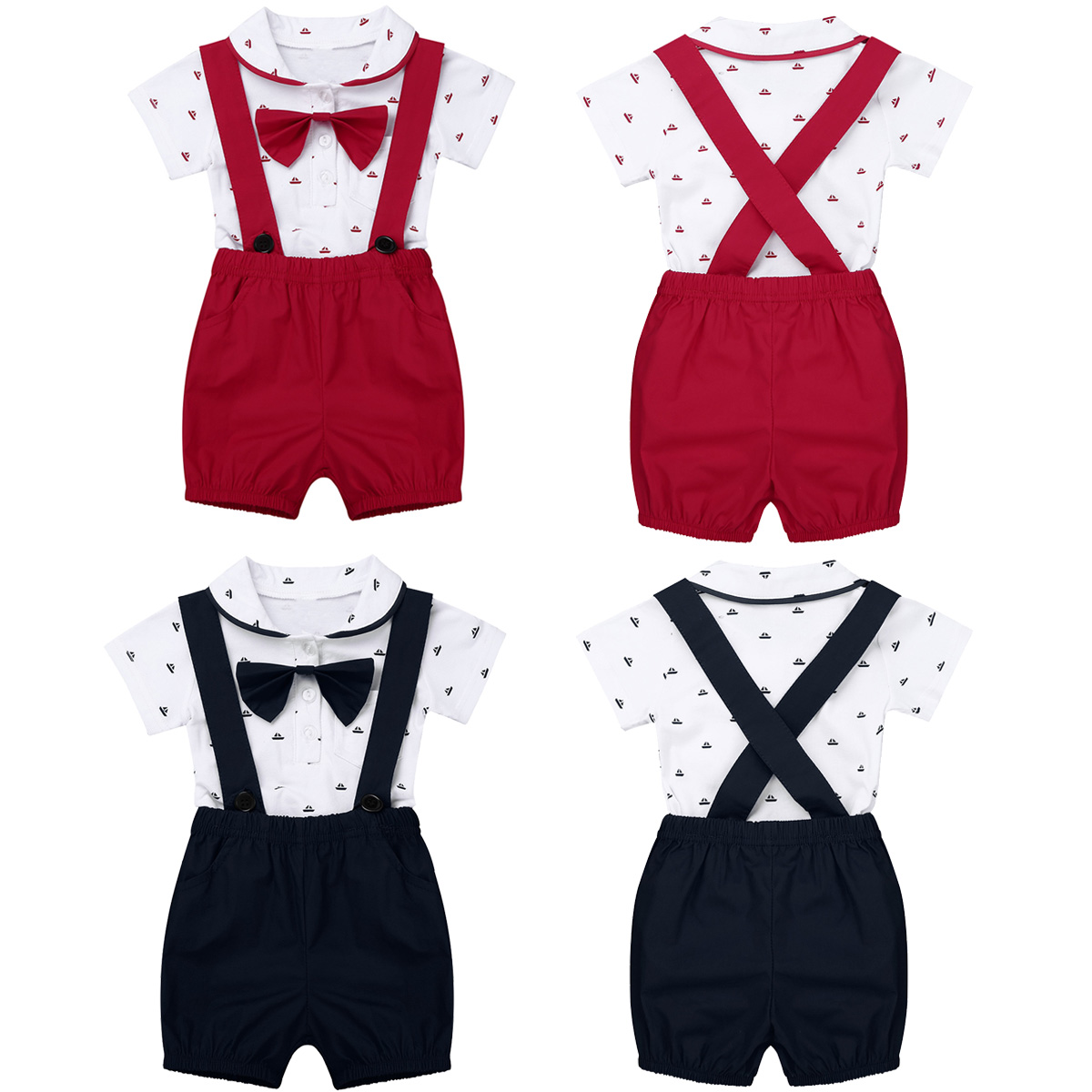 0040e9d4b39e5 Newborn Toddler Infant Baby Boys Party 1ST Birthday Outfit Short Sleeve Lapel  Bowtie Romper Jumpsuit with Suspender Shorts Set-in Clothing Sets from  Mother ...