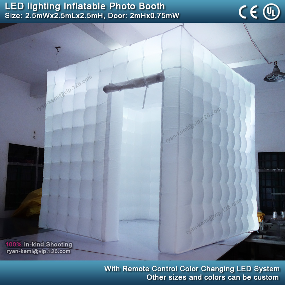 2.5m 8.2ft inflatable photo booth LED lighting portable inflatable photo tent enclosure cube tent with blower white