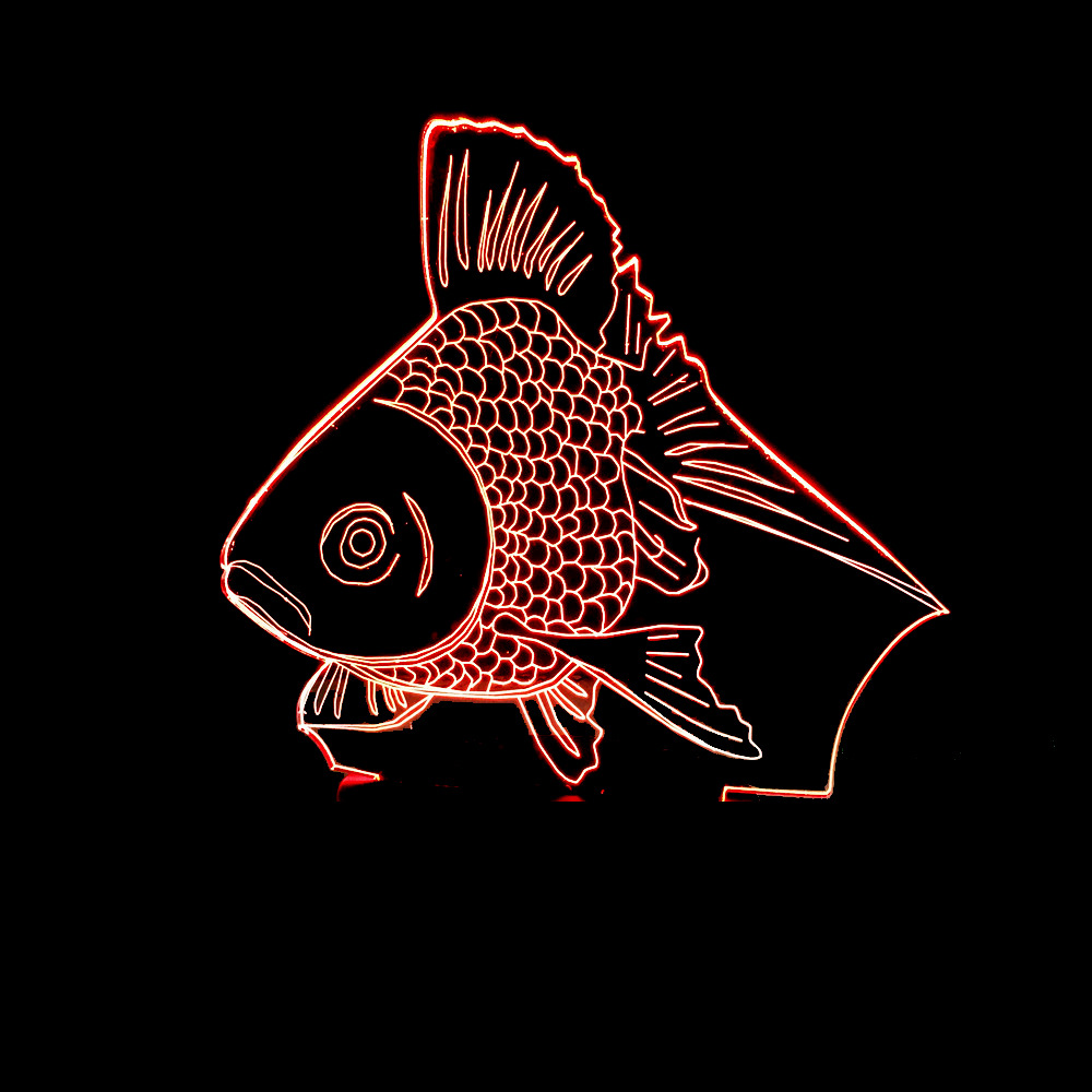 Novelty Goldfish LED Night Light Color Changing 3D Gold Fish Table Desk Lamp Children Bedroom Lighting Xmas New Year Kids Gifts