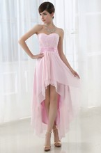 Fashional A-Line Pink Front Short Back Long Graduation Dress Free Shipping Party Evening Dress With Sashes Lace Up