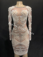 Pearls Rhinestones Mesh Dress Evening Party Wear Long Sleeves Prom Luxurious Perspective Dress Singer Birthday Celebrate Dresses