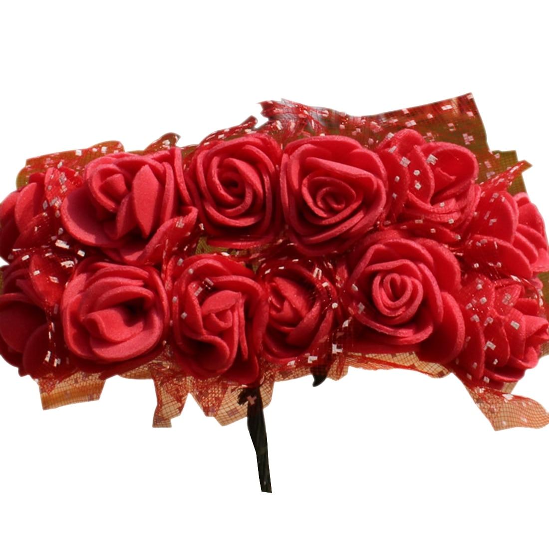 UESH-144pcs/лот 2 см DIY PE искусственные цветы Роуз Глава с сеткой свадебное домашние декоративные искусственные цветы букет accessori