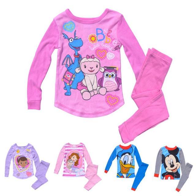 ac41751a7101 Kids Pajamas Baby Girls Boys Cartoon Cotton Sleepwear Princess ...