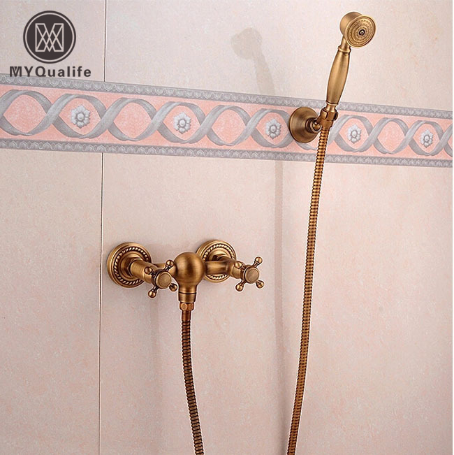 Antique Brass Handheld Shower Set Faucet Wall Mount Dual Handle Bathroom Shower Mixer Taps antique brass bathroom rain shower set faucet wall mount mixer tap with handheld shower head