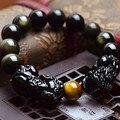 Natural de Obsidiana contas pulseira da cor do ouro jóias pulseira PIXIU bravos Sorte jóias mulheres homens jóias 0210