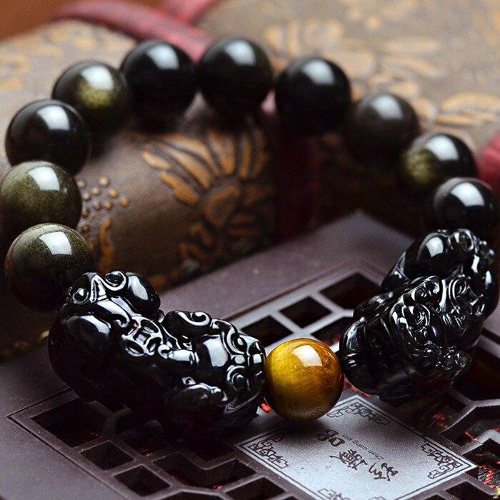 Prix pour Naturel Obsidienne perles bracelet or couleur bracelet bijoux PIXIU Chanceux courageux bijoux femmes hommes bijoux 0210