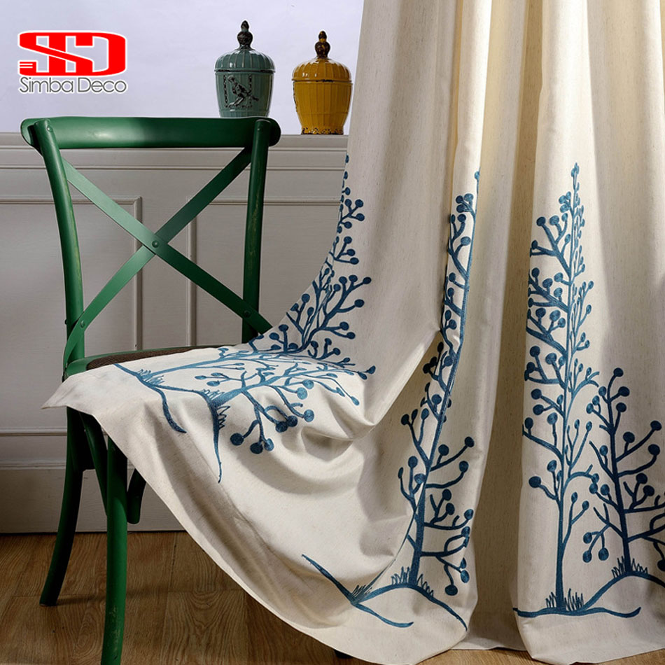 Cotton Fabric Curtains For Bedroom Trees Leaf Roman Blinds Blackout Drapes Window Vorhang Embroidered Cortinas For Living Room
